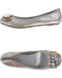 Jessica Simpson Silver Ballet Flats - Lyst