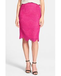 Cece by Cynthia Steffe - Corded Lace Pencil Skirt - Lyst