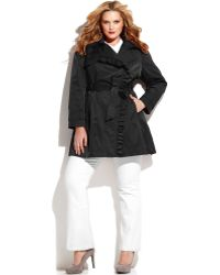 Jessica Simpson - Plus Size Ruffletrim Belted Trench Coat - Lyst