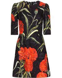 Dolce & Gabbana Floral-printed Brocade Dress - Lyst