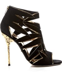 Sergio Rossi Ramage Suede and Metallic Leather Sandals gold - Lyst