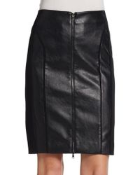 Adrianna Papell Faux Leather Paneled Pencil Skirt - Lyst