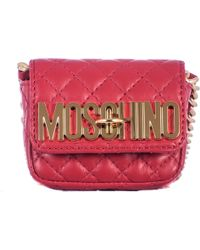 Moschino Red Leather Shoulder Mini Bag - Lyst