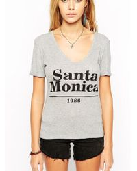 Asos T-Shirt In Rib With V Neck And Santa Monica Print - Lyst