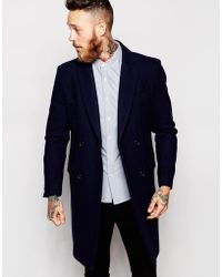 ASOS Double Breasted Overcoat In Navy - Blue