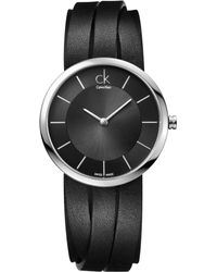Calvin Klein Women'S Swiss Extent Medium Black Leather Strap 32Mm K2R2M1C1 - Lyst
