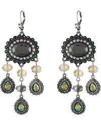 Betsey Johnson Whiteout Hematite Mix Large Chandelier Earrings - Lyst