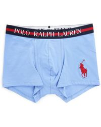 Ralph Lauren Sky Blue Boxer Shorts With Striped Waistband blue - Lyst
