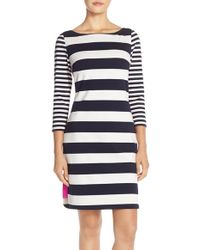 Eliza J | Stripe Ponte Sheath Dress | Lyst