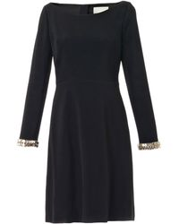 Honor Embellished-cuff Crepe Dress - Lyst