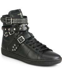 Saint Laurent Studded Leather High-Top Sneakers - Lyst