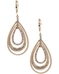 Judith Jack - Gold Marcasite Leverback Hoop Earrings - Lyst