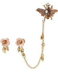 Betsey Johnson Queen Bee Floral Stud And Bee Cuff Earrings - Lyst