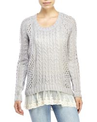 Pol - Oversized Lace Trim Sweater - Lyst