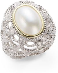 Judith Ripka Oval Mabe Pearl Sterling Silver Ring - Lyst