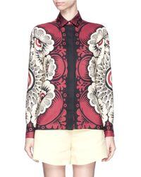 Valentino Blossom Print Shantung Silk Shirt red - Lyst