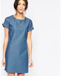 Sugarhill Denim Tunic Dress With Bow Detail - Blue
