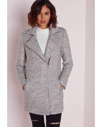 Missguided Biker Coat Grey Marl