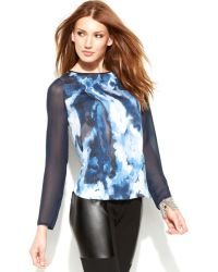 DKNY Illusionsleeve Printed Top - Lyst