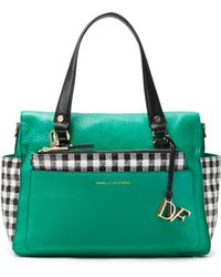 Diane von Furstenberg Voyage Gingham Colorblock Leather Satchel Bag - Lyst