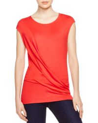 Three Dots | Drape Front Tee | Lyst