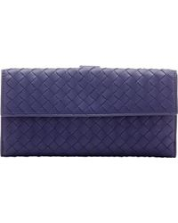 Bottega Veneta Intrecciato Continental Wallet blue - Lyst