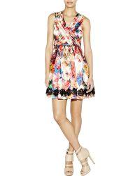 Nicole Miller Faint Floral Metallic Dress - Lyst