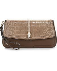 Class Roberto Cavalli Daphne Croc-Embossed Leather Clutch Bag - Lyst
