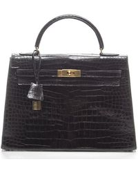 Hermès Pre-Owned Black Prorsus Crocodile 32Cm Kelly Bag - Lyst