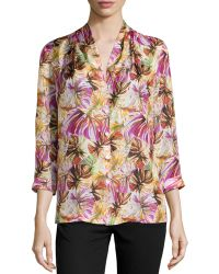 Lafayette 148 New York Niely Floral-print Silk Blouse - Lyst