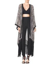Tamara Mellon Kimono With Crochet Fringe gray - Lyst