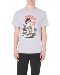 Obey Text And Brand-Print Cotton T-Shirt - For Men gray - Lyst