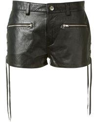 BLK DNM Black Leather Mini Shorts - Lyst