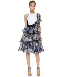Prabal Gurung Ruffle Shoulder Cutout Dress - Navy - Lyst