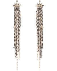 Irit Design - Pave Diamond Crown Earrings With Chain Fringe Drops - Lyst
