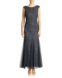 Adrianna Papell Petite Beaded Mermaid Gown - Lyst
