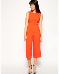 Asos Exclusive Jumpsuit with Cut Out Back and Crop Leg - Lyst