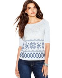 Lucky Brand Jeans Lucky Brand Elbow Sleeve Embroidered Tee - Lyst