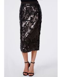 Missguided Circle Sequin Midi Skirt Black - Lyst