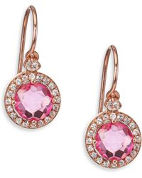 Kalan By Suzanne Pink Topaz White Shire 14k Rose Gold Drop Earrings