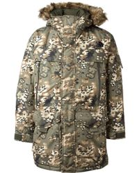 The North Face Camouflage Print Padded Coat - Lyst