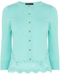Karen Millen Delicate Lace Back Cardigan green - Lyst