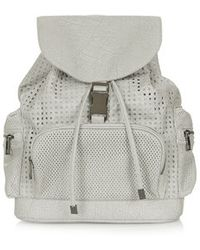 Topshop Gray Perforated Backpack - Lyst
