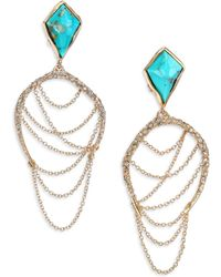Alexis Bittar Miss Havisham Jagged Howlite Turquoise & Crystal Draped Chain Clip-On Earrings - Lyst