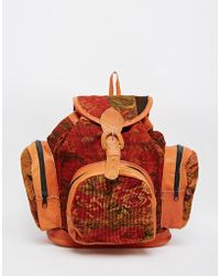Hiptipico - Rose Tapestry Backpack With Leather Trim - Lyst