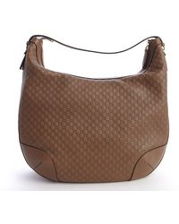 Gucci Beige Gg Leather Hobo Bag - Lyst