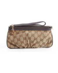 Gucci Beige and Brown Leather and Gg Canvas Wristlet - Lyst