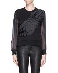 Edition10   Silk Wing Embroidery Sweatshirt   Lyst