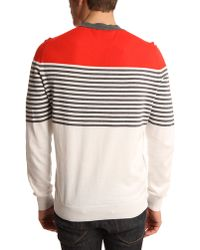 Dunhill Red, Navy And White Striped V-Neck Sweater - Lyst