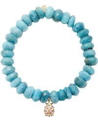 Sydney Evan Ruby and Diamond Lady Bug Charm Beaded Bracelet - Lyst